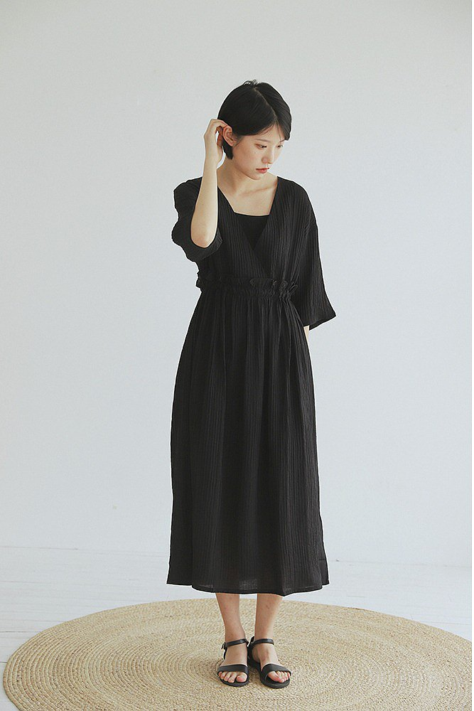 Fairy Deity | Black Japanese Cross V-Neck Holiday Dress Sling Two-Piece Wedding Bridesmaid Dress