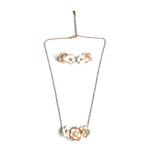 handmade jewelry set,flower jewelry set,rose gold necklace,flower statement necklace,flower stud earrings,rose gold earrings,bridesmaid gift