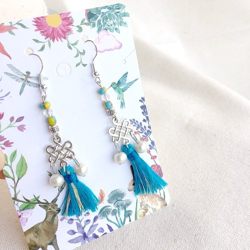 """YAYI"" imported alloy silver Chinese figure totem earrings, cute exclusive section tassel"