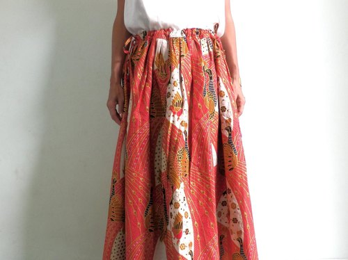 Bird pattern batik / adult cute skirt with gold border / red