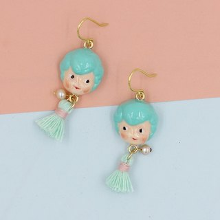 paramecium Fez [Kurt] Stone Sculpture clay earrings handmade original design Funny cute little tassels