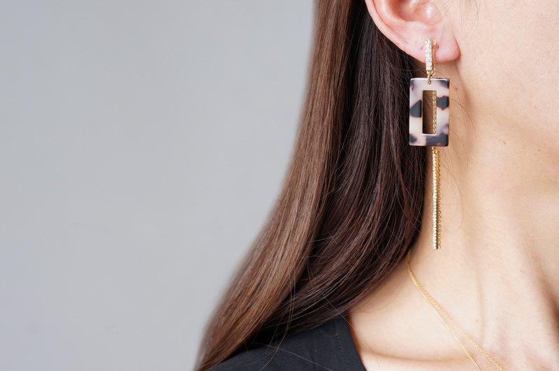 【大理石】非穿孔耳環,玻璃長條 -  002  -