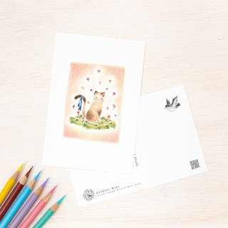 "4 pieces set. Like a picture book. Post Card ""Blue Ribbon of Nana in Cat"" PC-115"