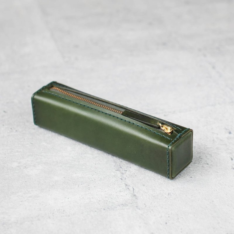 Dark green classy square veg-tanned leather pencil case/pen pouch