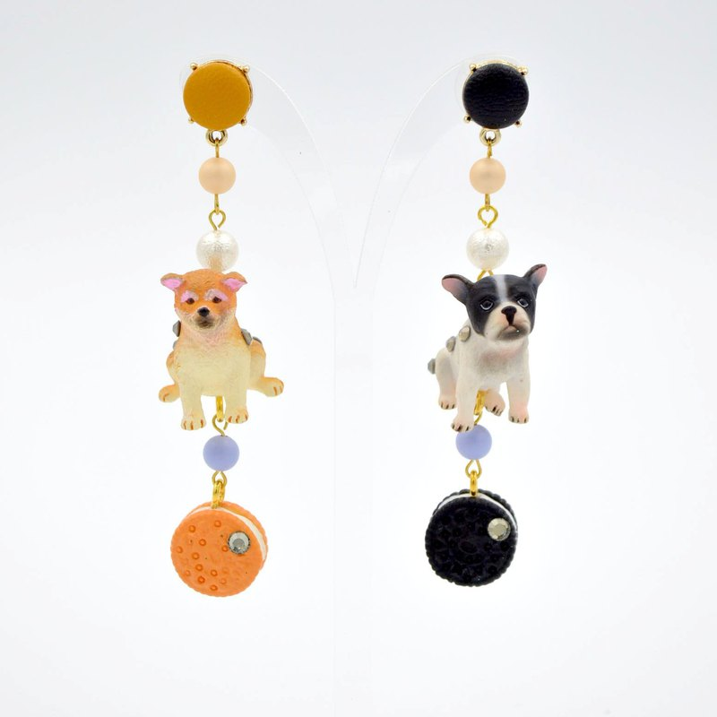 Golden retriever cookie French Bulldog puppy earrings earrings Swarovski crystal flower ass