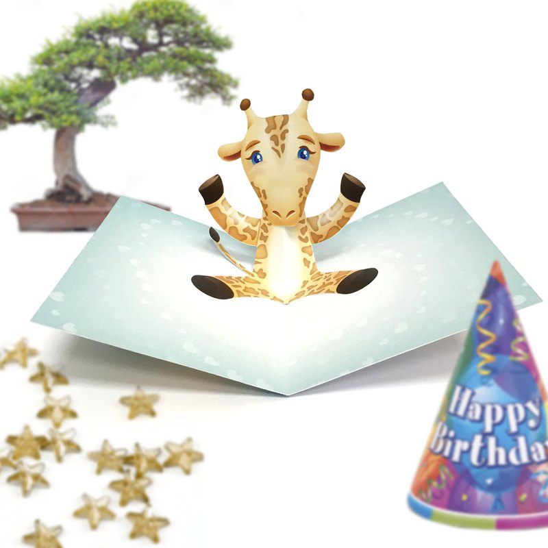 Giraffe Card | Giraffe Birthday Card | Pop Up Card