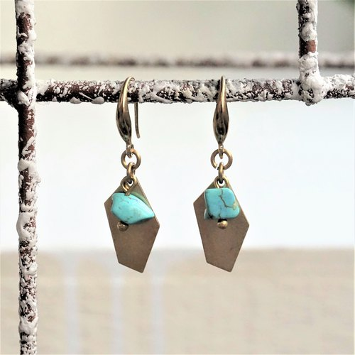 << Cosmic Tablets - Blue Ocean >> Brass Natural Stone Drop Earrings