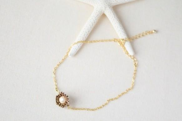 cotton pearl hexagon anklet bronze