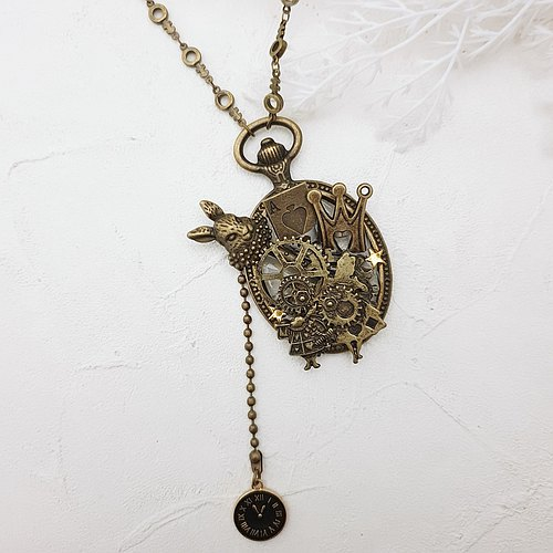 Alice in Wonderland x 14K Gold Necklace / Rabbit x Pocket Watch x Clock