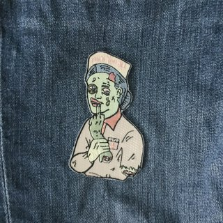 Zombie nurse embroidered piece