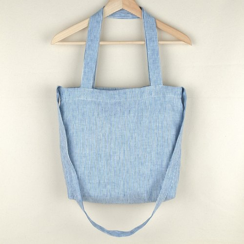 Blue Jean & White Linen Tote Bag