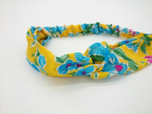 Yellow background light blue flower cross section headband hairband * SK *