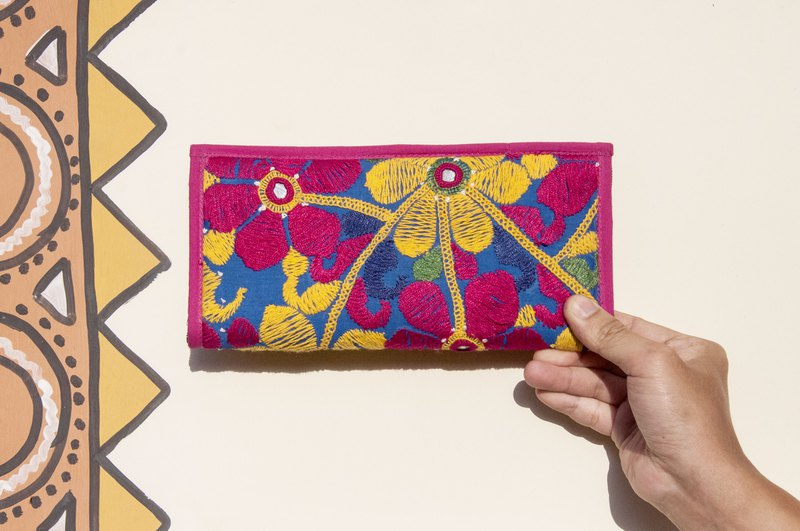 Hand-embroidered wallet national wind long clip embroidery wallet handmade lace long clip - desert flower embroidery bag