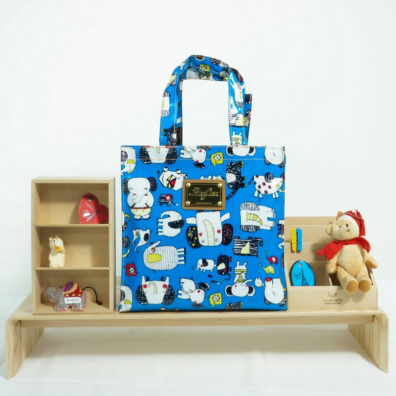 Picture book like waterproof bag - azure blue
