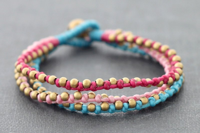 Berry Blast Woven Bracelets, Brass Beaded Bracelets, Cute Lovely Stud Bracelets
