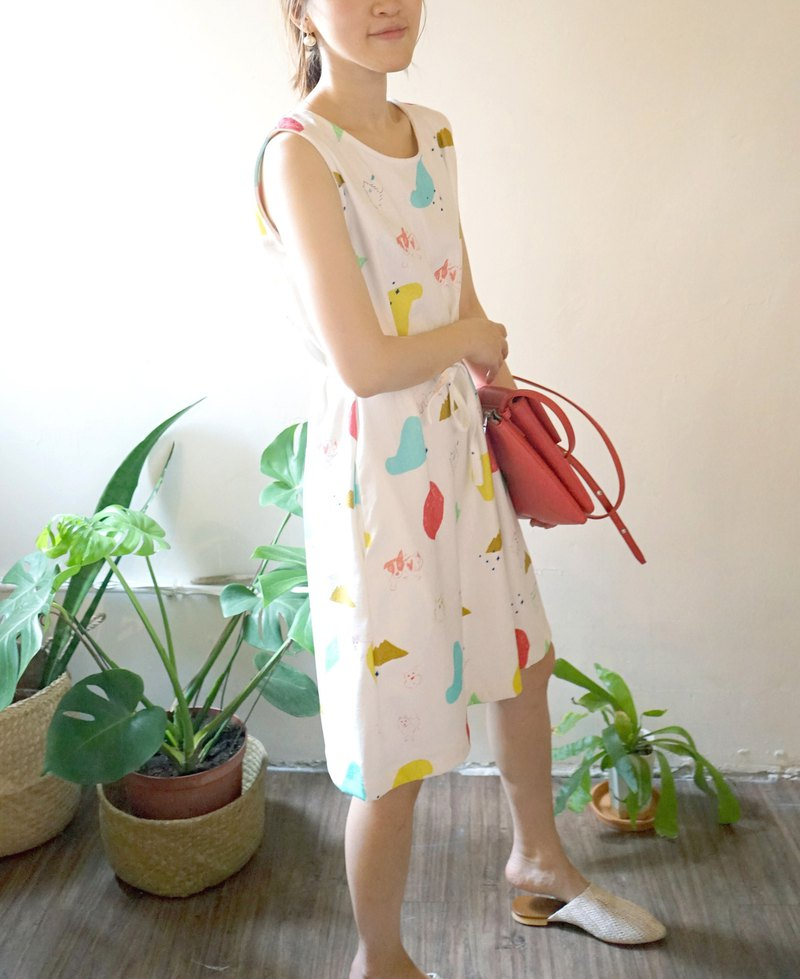 The last puppy with love yinke print cloth straps with two pockets dress