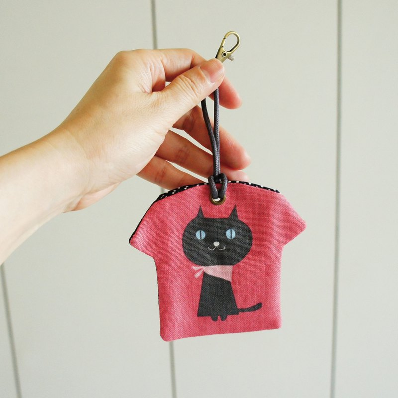Lovely Japanese cotton and linen [black cat T-shirt shape peace symbol bag] poetry sign amulet, gray red