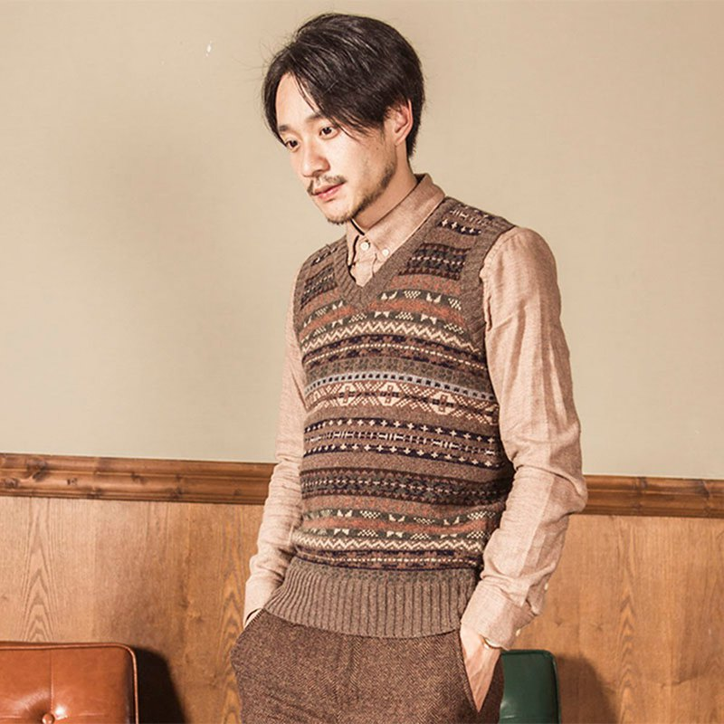 Vintage Fair Isle pattern jacquard V-neck knit vest men's and women's British base cardigan vest