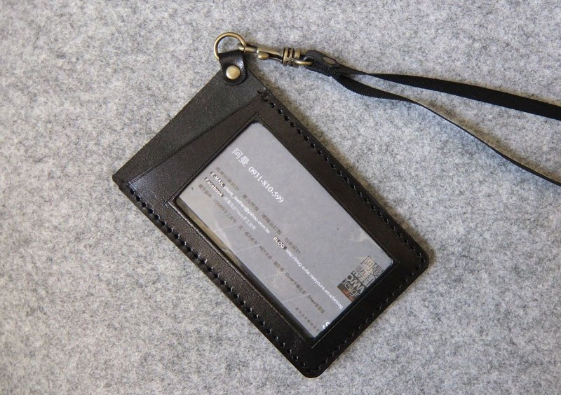 YOURS handmade leather straight leather folder oblique vertical folder personality black leather + gray suede (including woven neck strap)