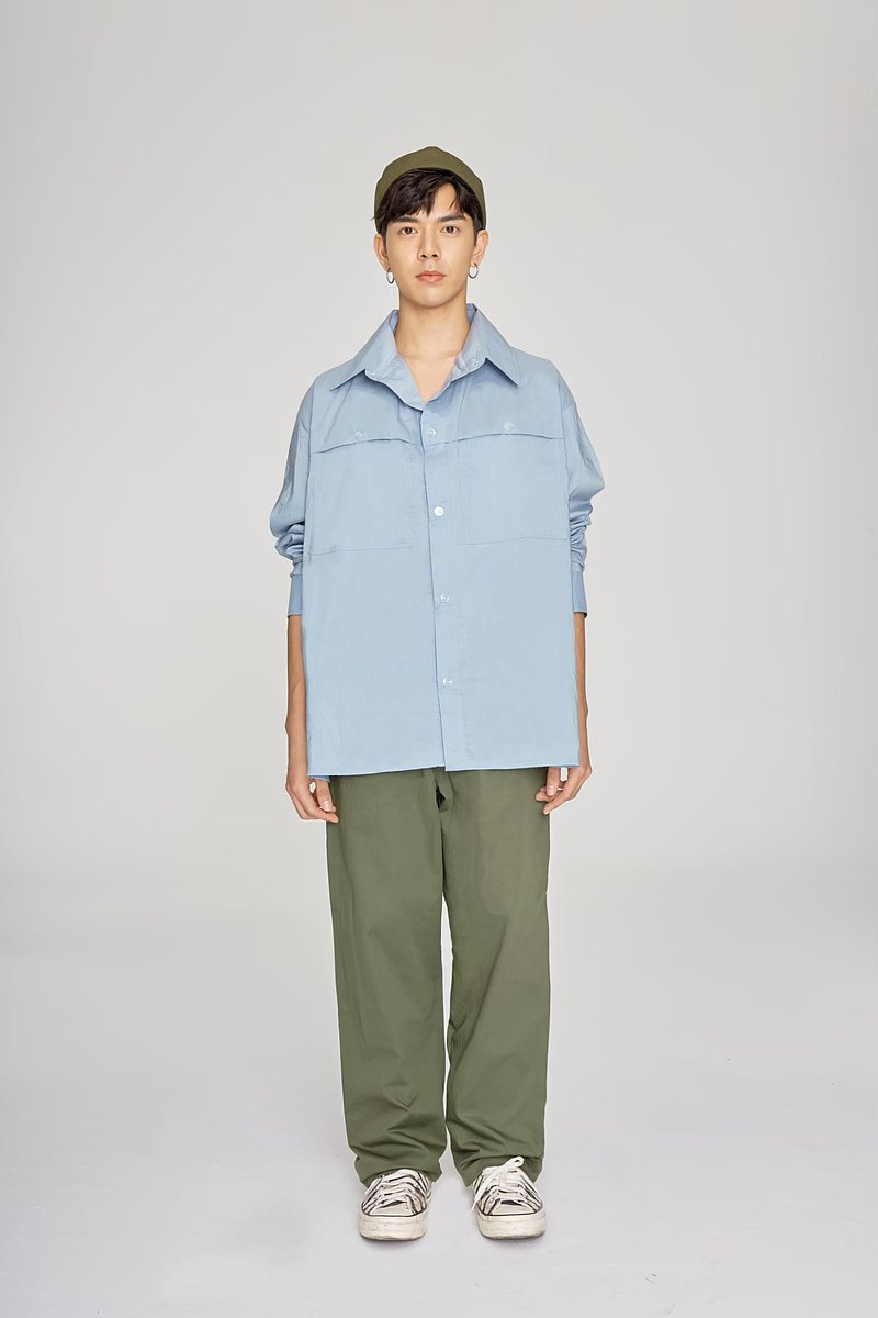 Square Overshirt - BABY BLUE