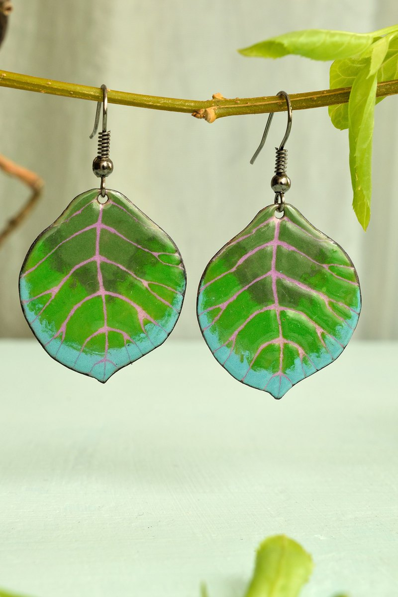 Green Leaves, Jewelry, Leaf, Leaf Earrings, Enamel Leaf Earrings, Summer Leaf,