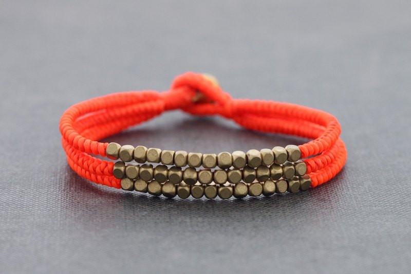 Bright Orange Woven Bracelets Cube Brass Braided Multi Strand