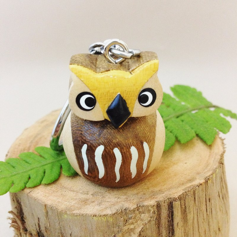 [stereo owl x good health] handmade wooden key ring / charm