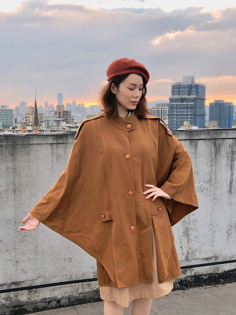Sunset Bat-Khaki Cape Coat