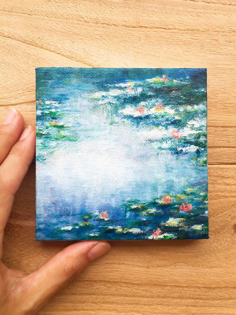 Lily Pond -Original Painting. Impressionist Water Lilies Monet Mini Collection.