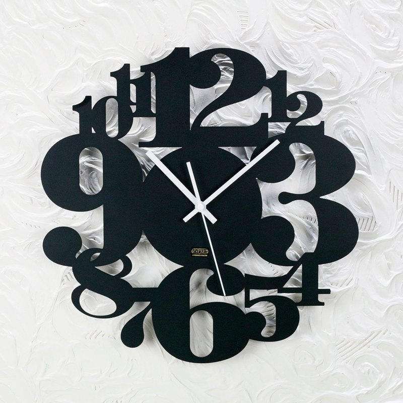 "[] OPUS East homogeneous metalworking Continental Iron Clock ""numbers game"" black / metal texture / Mute Wall Clock / modeling wall clock / mute movement / married into the house gift CL-ar06 (B)"