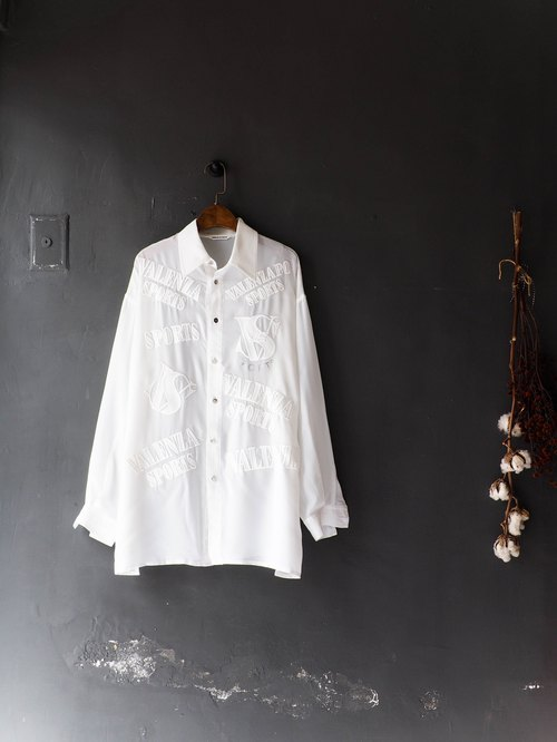 Rivers and mountains - Okayama transparent youth youth white sunset party antique silky spinning shirt shirt oversize vintage