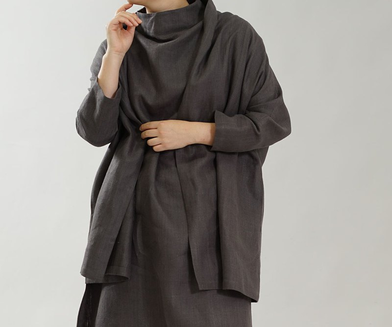 wafu Linen cardigan / long sleeves / shawl collar / charcoal h014a-ktb2