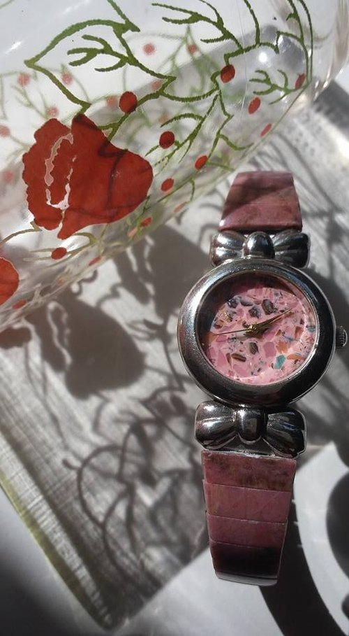 【Lost And Find】Sweet bowknot Natural Rhodochrosite watch