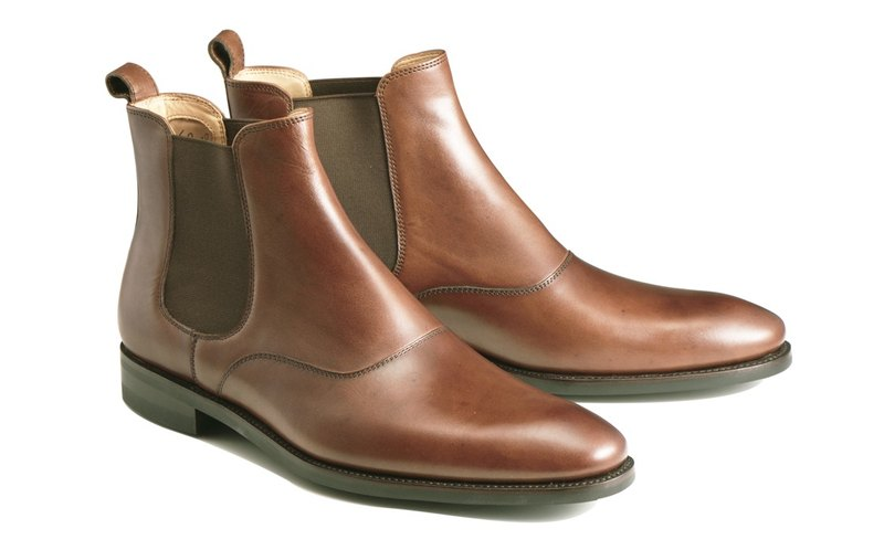 Brown Chelsea leather boots Goodyear stitch hand-made