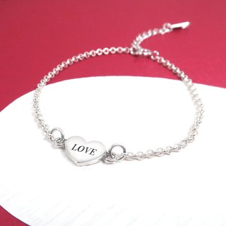 Red Heart Double Circle Love Heart 925 Sterling Silver Customized Lettering Bracelet
