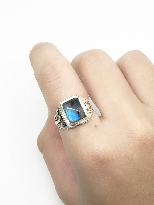 Labradorite 925 sterling silver rings carved square mosaic made by hand in Nepal