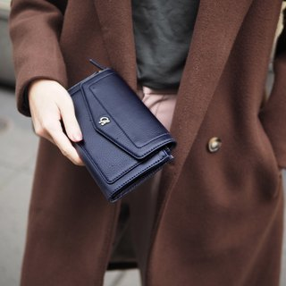 AVA (Navy) : long wallet, navy wallet , cow leather wallet