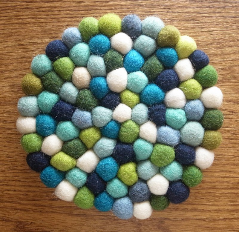 Potholder, Trivet, Pan Coaster,Pot holder,Felt ball Trivet Round 20cm Blue+Green