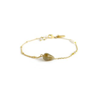 Ficelle | Handmade Brass Natural Stone Bracelet | [Labradorite] Walk with you