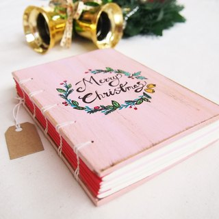 Pink Merry Christmas notebook handmadenotebook diary handmade wood  筆記本