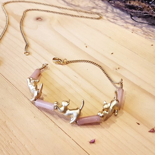 Copper Handmade _ Pink Spotted Jade Necklace & Bracelet Activities Dual-use design section [1plus1 Series = 1 Necklace + 1 Bracelet]