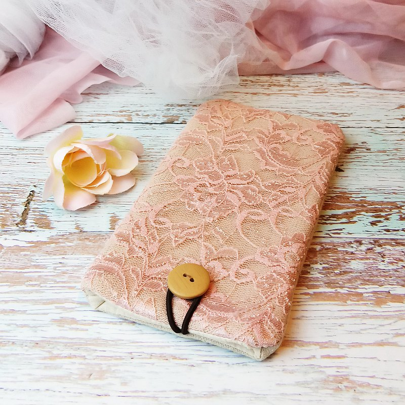 iPhone sleeve, Samsung Galaxy S8, Galaxy Note 8 pouch cover 自家製手提電話包, 手機布袋,布套 (可量身訂製) - Lace series (P-240)