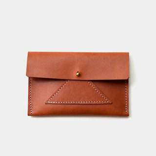 [Ming Taizi rice ball lunch box] leather business card holder leather card holder leisure card holder caramel color coin purse