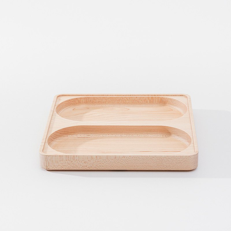 [Jeantopia] Zhiyin selection of solid wood stacking stationery storage double compartment long plate | 1534804