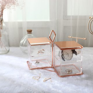 Rose gold jewelry storage box four grid scales