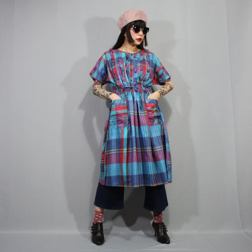 (Free shipping) (Vintage dress) Blue Green Summer Plaid Japanese vintage dress (Wedding/Birthday gift) F3214