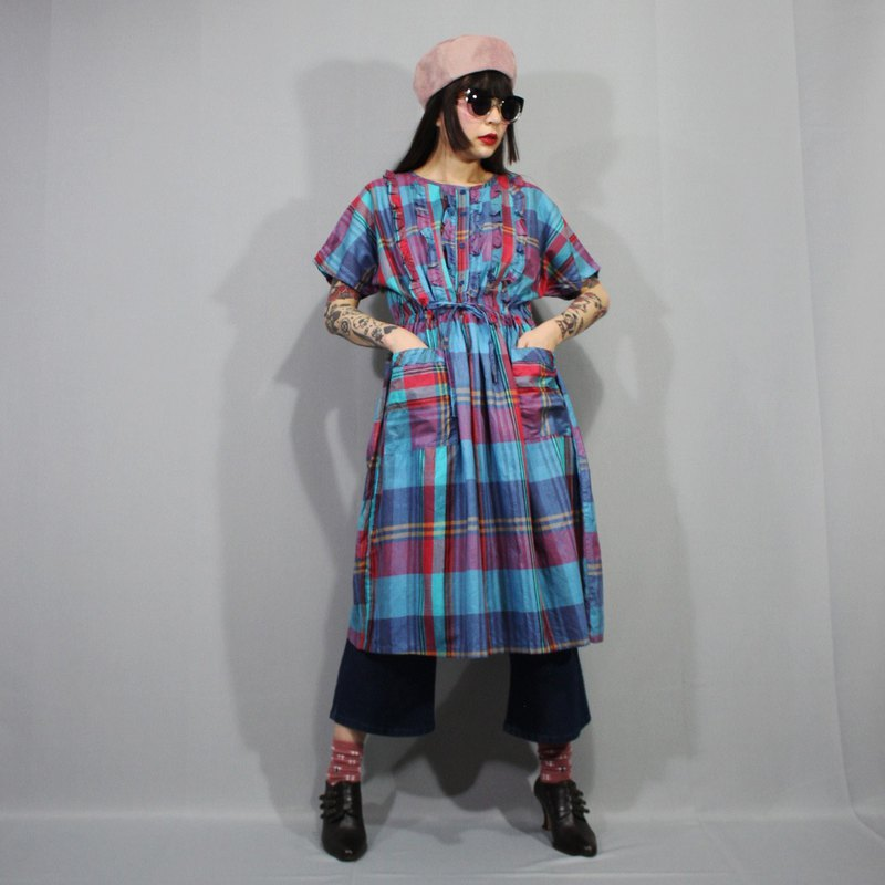 (Vintage dress) Blue Green Summer Plaid Japanese vintage dress (birthday gift) F3214