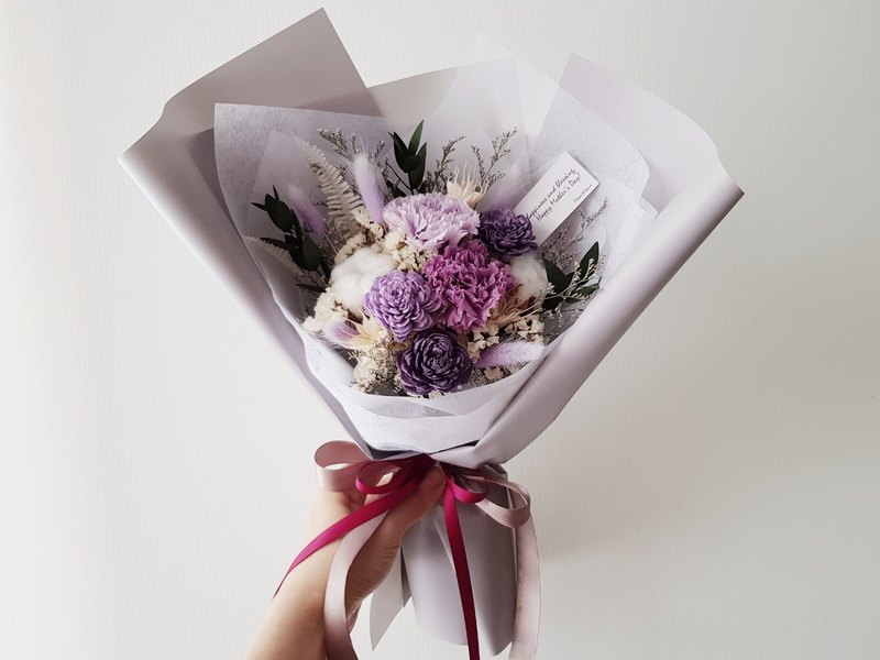 Eternal Flower + Dry Flower | Love Mommy | Purple Carnation Mother's Day Bouquet |