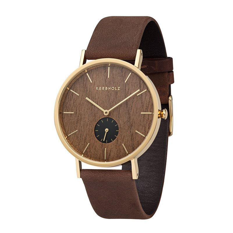 KERBHOLZ-Wood Watch-FRITZ-Walnut-Gold (40mm)