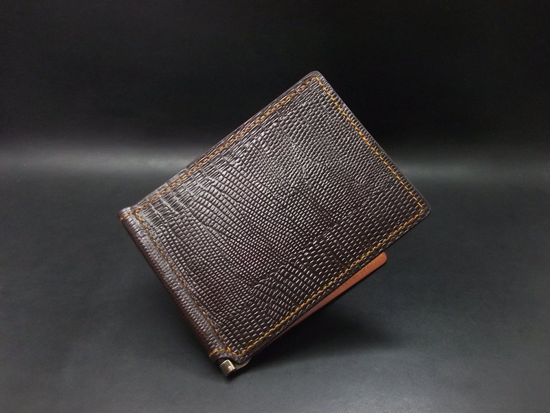APEE leather handmade ~ banknote clip ~ lizard striae ~ black brown / light tea